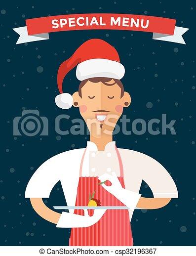 Special Christmas menu cook chef vector illustration - csp32196367