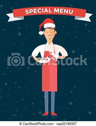 Special Christmas menu cook chef vector illustration - csp32196357