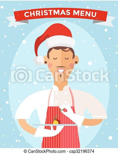 Special Christmas menu cook chef vector illustration - csp32196374