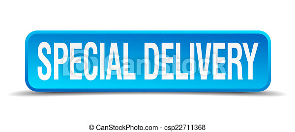 Special delivery blue 3d realistic square isolated button - csp22711368