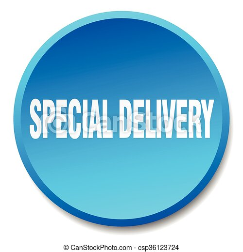 special delivery blue round flat isolated push button - csp36123724