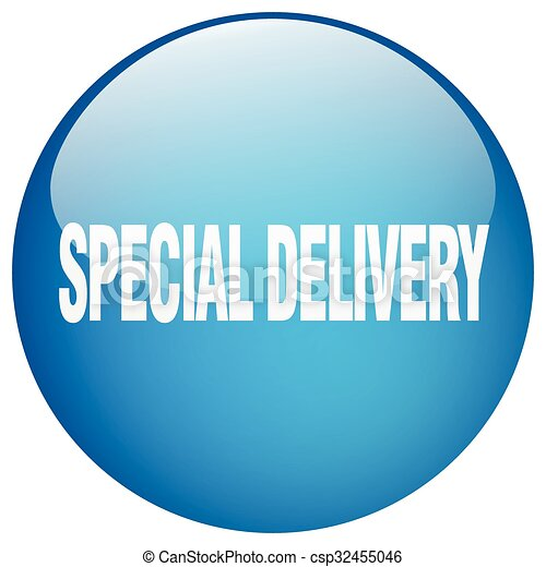 special delivery blue round gel isolated push button - csp32455046