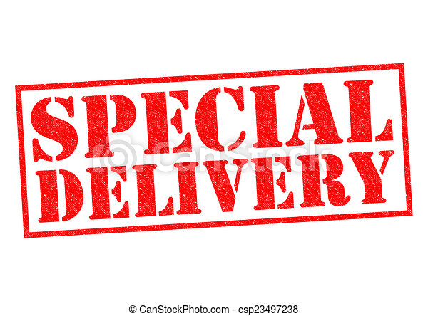 Special Delivery Red Rubber Stamp Over A White Background