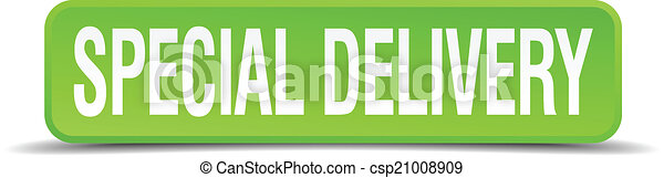 Special delivery green 3d realistic square isolated button - csp21008909