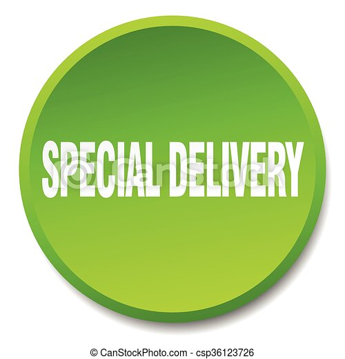 special delivery green round flat isolated push button - csp36123726