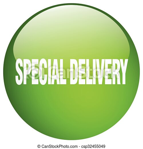 special delivery green round gel isolated push button - csp32455049