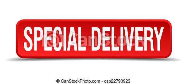 Special delivery red 3d square button isolated on white - csp22790923