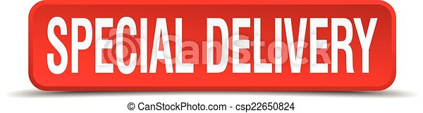 Special delivery red 3d square button isolated on white - csp22650824