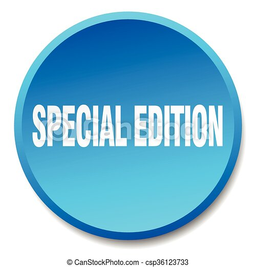special edition blue round flat isolated push button - csp36123733