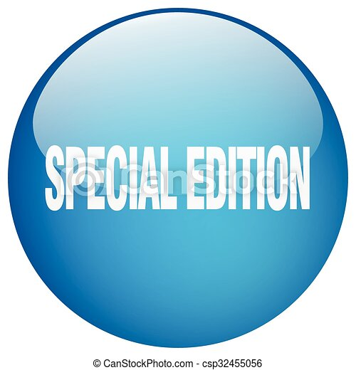 special edition blue round gel isolated push button - csp32455056