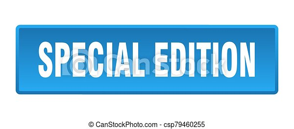 special edition button. special edition square blue push button - csp79460255