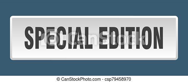 special edition button. special edition square white push button - csp79458970