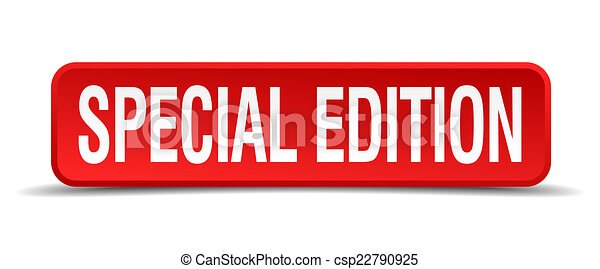 Special edition red 3d square button isolated on white - csp22790925
