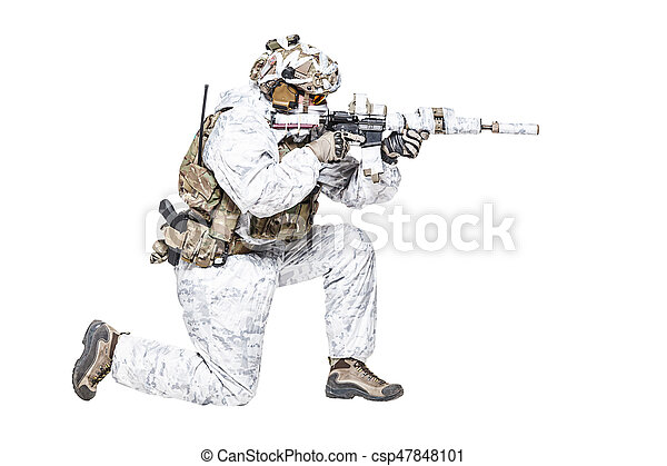 Special forces operator in winter camo clothes - csp47848101