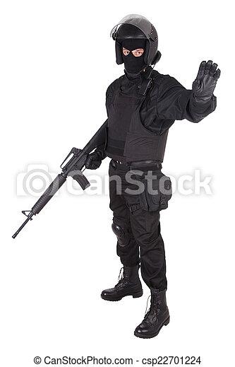 special forces sodier in black uniform - csp22701224