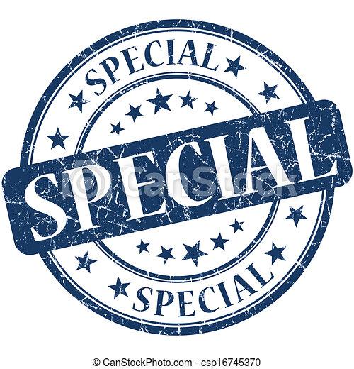 Special grunge blue round stamp - csp16745370
