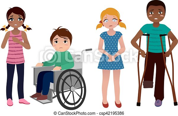 special needs children sad set set of sad special needs vector rh canstockphoto com Speech Clip Art special needs clipart free