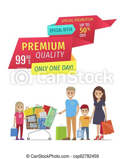 Special Offer Banners with Parents and Children - csp62782459