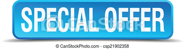 Special offer blue 3d realistic square isolated button - csp21902358