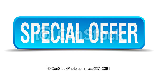 Special offer blue 3d realistic square isolated button - csp22713391