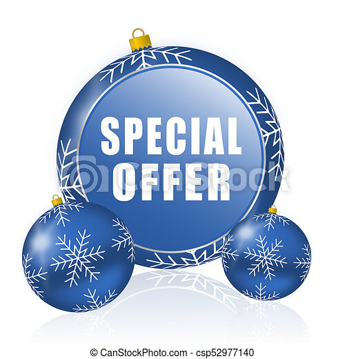 Special offer blue christmas balls icon - csp52977140
