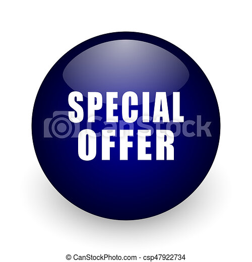 Special offer blue glossy ball web icon on white background. Round 3d render button. - csp47922734