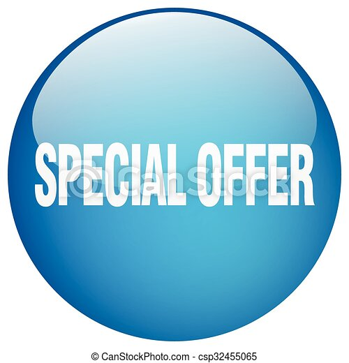 special offer blue round gel isolated push button - csp32455065