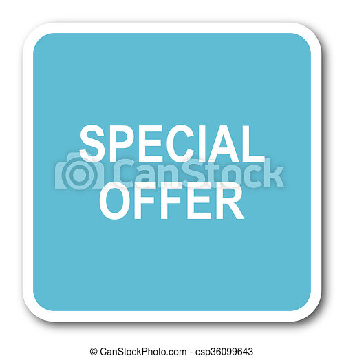 special offer blue square internet flat design icon - csp36099643
