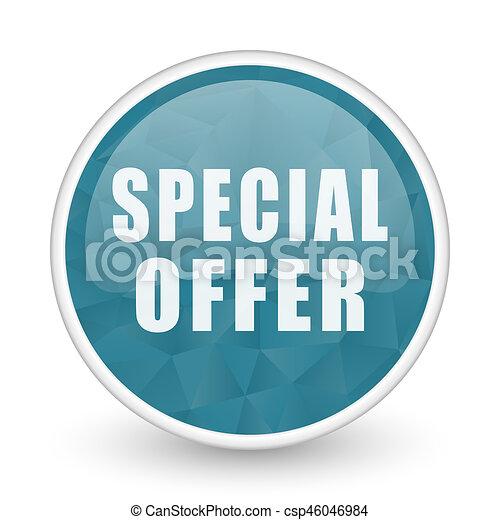 Special offer brillant crystal design round blue web icon. - csp46046984