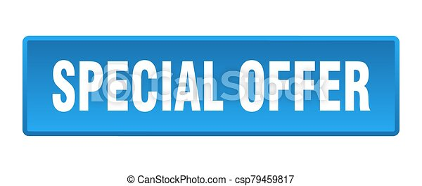 special offer button. special offer square blue push button - csp79459817