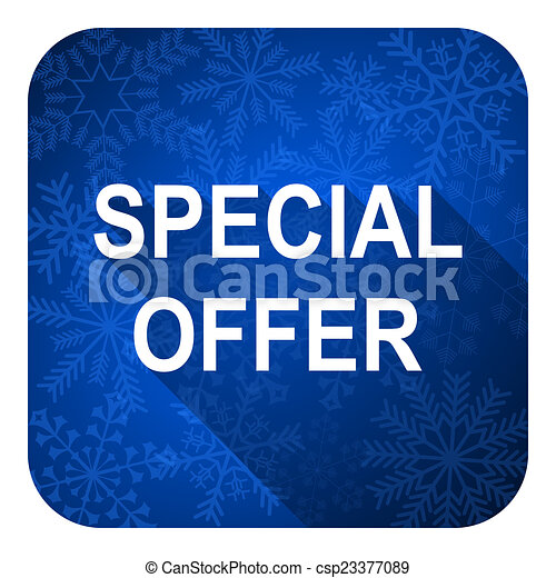special offer flat icon, christmas button - csp23377089