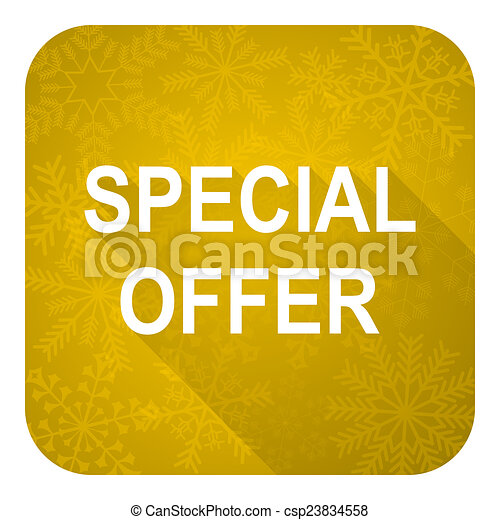 special offer flat icon, gold christmas button - csp23834558
