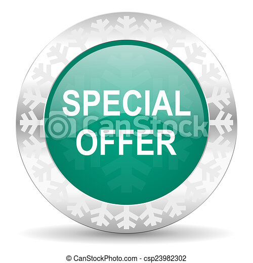 special offer green icon, christmas button - csp23982302