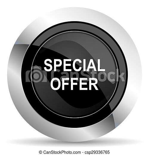 special offer icon, black chrome button - csp29336765