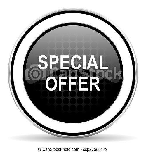 special offer icon, black chrome button - csp27580479