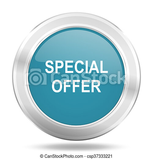 special offer icon, blue round glossy metallic button, web and mobile app design illustration - csp37333221