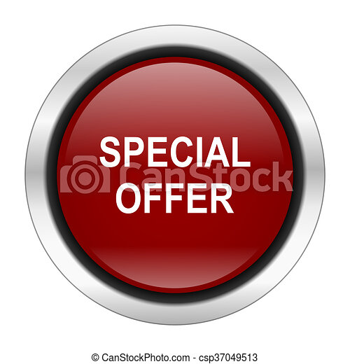 special offer icon, red round button isolated on white background, web design illustration - csp37049513
