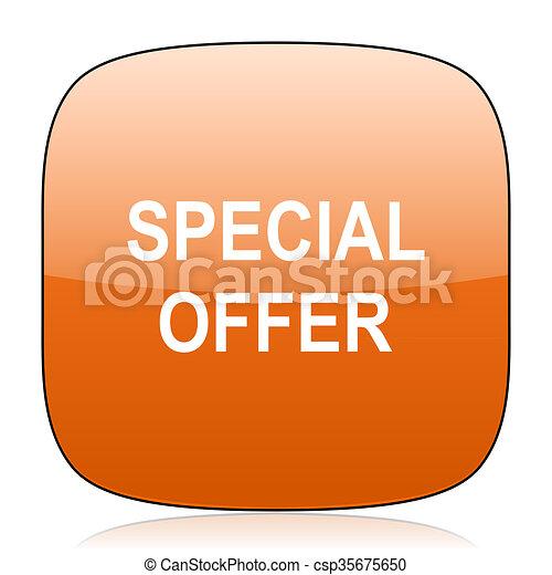 special offer orange square web design glossy icon - csp35675650