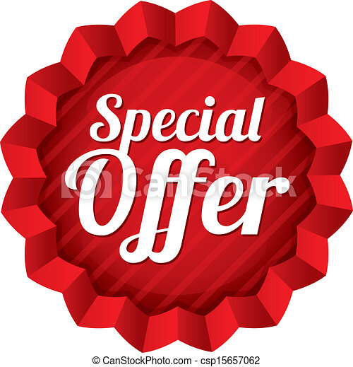 Special offer price tag. Red round star sticker. - csp15657062