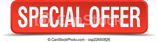Special offer red 3d square button isolated on white - csp22650826
