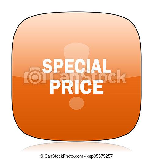 special price orange square web design glossy icon - csp35675257