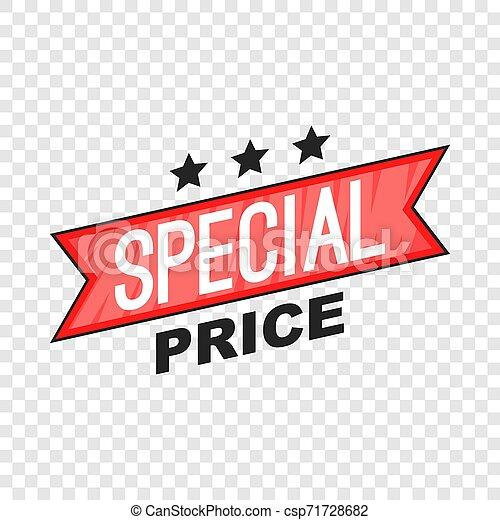 Special price ribbon icon, cartoon style - csp71728682