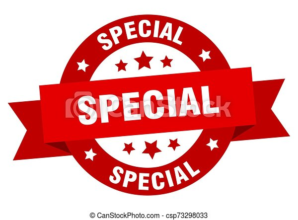 special ribbon. special round red sign. special - csp73298033