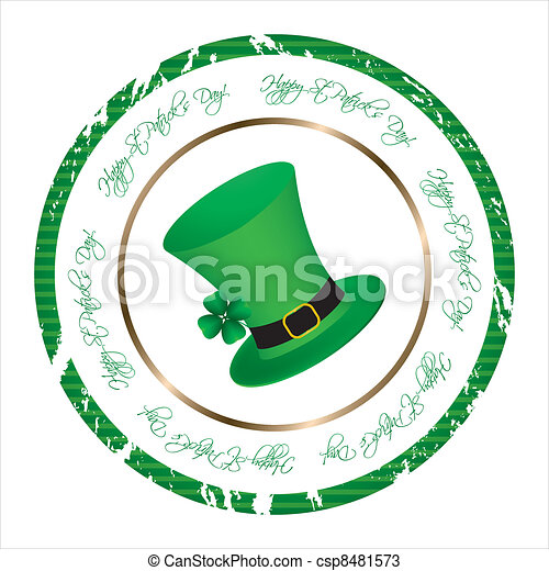 special stamp with St. Patrick's Day design - csp8481573