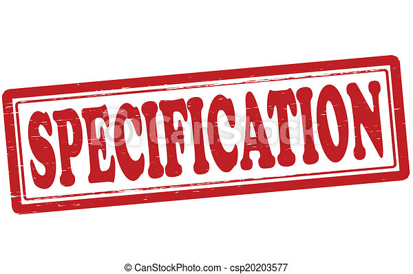 specification stamp with word specification inside vector