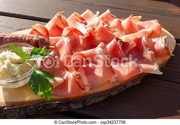 Speck salami and cheese with horseradish sauce - csp34237708