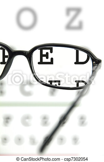 spectacles on an eye chart - csp7302054