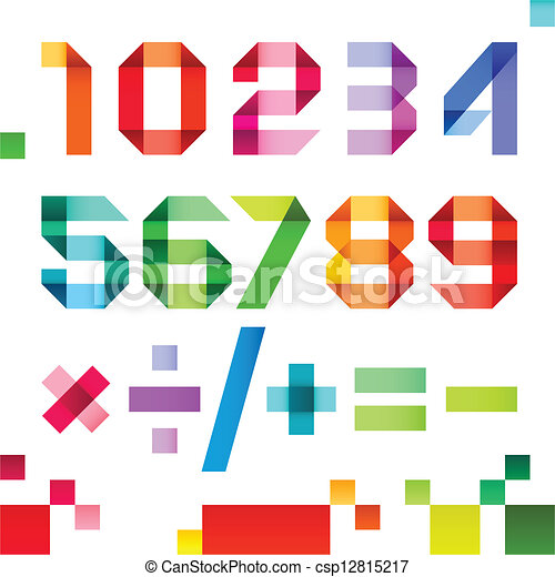 Spectral numbers folded of paper ribbon colour - Arabic numerals, vector illustration - csp12815217