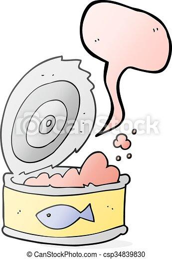 speech bubble cartoon can of tuna - csp34839830