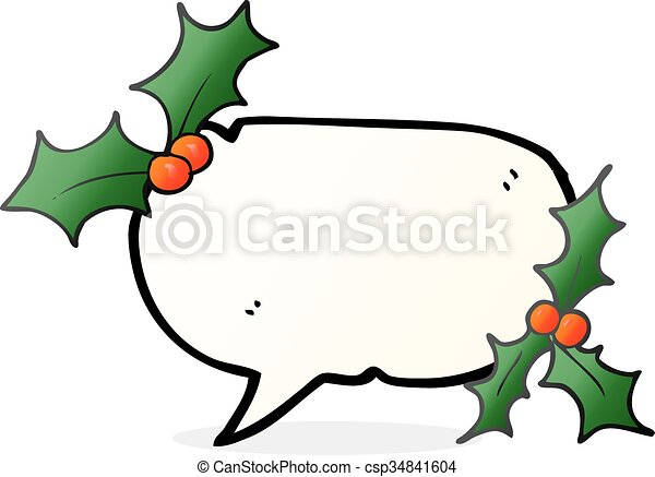 Christmas Holly Cartoon.Speech Bubble Cartoon Christmas Holly